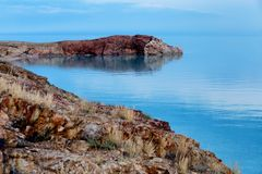 Crocodile Rock on the Lake Balkhash, Kazakhstan Stock Image