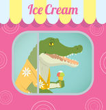 Crocodile selling ice cream. Vector retro illustration of a crocodile in a Aloha shirt standing behind the window inside a trailer selling ice cream. In the eps Royalty Free Stock Photography