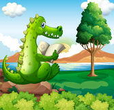 A crocodile sitting above the rock while reading near the river. Illustration of a crocodile sitting above the rock while reading near the river Stock Image