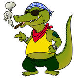 Crocodile smoking Royalty Free Stock Images