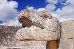Reptile head in Chichen Itza, Mexico Royalty Free Stock Image