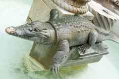 Crocodile statue in Nimes Royalty Free Stock Photo