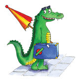 Crocodile suitcase Stock Image