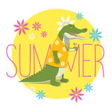 Crocodile summer. Vector illustration of a happy crocodile in a yellow Aloha shirt standing, holding an icecream and smiling. Yellow circle with flowers and the Royalty Free Stock Photography