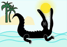 Crocodile swallowed sun Stock Image