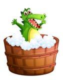A crocodile taking a bath Stock Photo