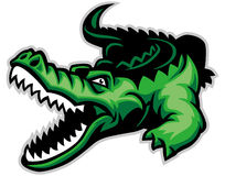 Crocodile. Vector cartoon of angry green crocodile stock illustration