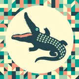 Crocodile with vintage background. Royalty Free Stock Photo