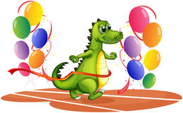 A crocodile walking between balloons Stock Photos