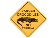 Crocodile warning sign, no swimming, isolated on white background. Australian crocodile road warning sign with no swimming isolated on a white background stock images