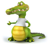 Crocodile with a white tshirt Stock Images