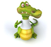 Crocodile with a white tshirt Stock Image