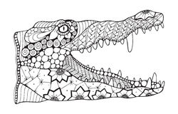 Crocodile zentangle stylized, vector, illustration, pattern, fre. Ehand pencil, hand drawn. Zen art. Print for t-shirt and coloring books vector illustration
