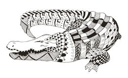 Crocodile zentangle stylized, vector, illustration, pattern Royalty Free Stock Photo