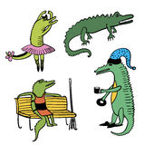 Crocodiles bright funny comic set outline cartoon  illustration Stock Images