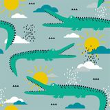 Crocodiles, clouds and sun, colorful seamless pattern. Decorative cute background with animals. Crocodiles, hand drawn backdrop. Colorful seamless pattern with vector illustration
