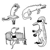 Crocodiles funny comic set outline  illustration Stock Photo