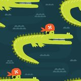 Crocodiles - pirates in water, seamless pattern stock illustration