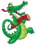 Crocodilo e salsicha ilustração stock