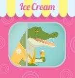 Crocodilo que vende o gelado Fotografia de Stock Royalty Free