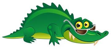 Crocodilo verde engraçado dos desenhos animados em vidros de sol Imagem de Stock