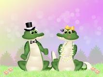 Crocodilos no amor ilustração do vetor