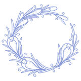 Crocus flower frame. Vector crocus flower frame in line art style in two colours Royalty Free Stock Photo