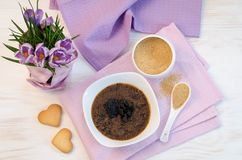 Flowers, cookies and porridge of amaranth with prunes Stock Photography