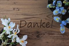 Crocus And Hyacinth, Danke Means Thank You stock photos