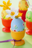Crocus in painted easter eggs Stock Photo