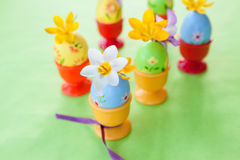 Crocus in painted easter eggs Stock Images