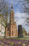 Crocusses in front of the Jozef cathedral in Groningen Stock Photos