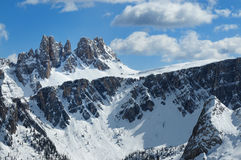 Croda da Lago Di Formin & Lastoni, dolomity, w zimie, Veneto Fotografia Stock