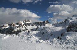 Croda da Lago & Lastoni di Formin, доломиты, в зиме, венето Стоковое Изображение RF