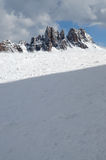 Croda da Lago & Lastoni di Formin, Dolomites, i vinter, Veneto Arkivfoto