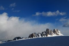 Croda da Lago & Lastoni di Formin, Dolomites, in winter, Veneto. Stock Photos