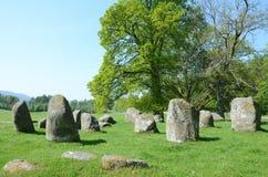 Croft de steencirkel van Moraig, Perthshire Stock Afbeelding