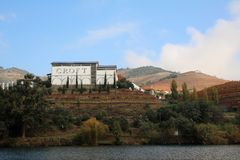 Croft vineyard on the banks of the River Douro. Croft vineyard in autumn on the port producing banks of the river Douro. Quinta da roeda, Vila Real district royalty free stock photo