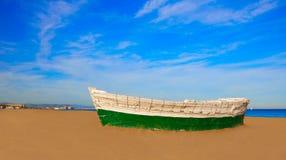 Crogioli di spiaggia di Valencia La Malvarrosa incagliati Fotografie Stock