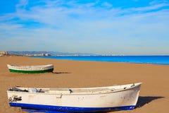 Crogioli di spiaggia di Valencia La Malvarrosa incagliati Fotografie Stock Libere da Diritti