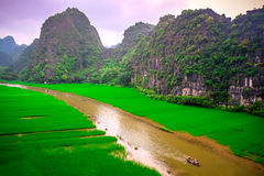 Crogioli turistici di caverna in Tam Coc, Ninh Binh, Vietnam immagine stock libera da diritti