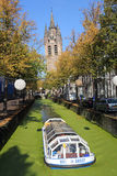 Crogiolo di canale in autunno a Delft, Olanda Immagini Stock Libere da Diritti