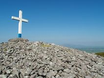 Crohaun Mountain. Cairn and cross on the summit of Crohaun mountain, Co. Waterford, Ireland Stock Images