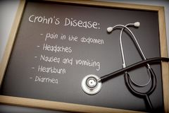 Crohn`s disease can have these symptoms diarrhea, Headaches, Heartburn, Nausea and vomiting, Pain in the abdomen. Written on a blackboard next to a stethoscope stock images