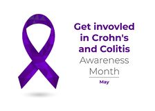 Crohns Disease and Colitis Awareness Month ribbon vector illustration