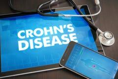 Crohns med för diagnos för sjukdom (den släkta gastrointestinala sjukdomen) royaltyfri illustrationer