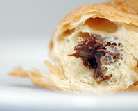 Croisant with chocolate. A large piece of french croissant with chocolate Stock Photo