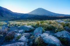 Croisement alpin de Tongariro, volcan, mt ngauruhoe, lever de soleil, nouveau zea photo stock