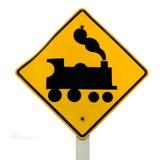 Croisement de chemin de fer, roadsign de machine à vapeur sur le blanc Photos stock