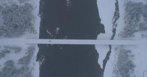 Croisement de forêt d'hiver au-dessus de la rivière Biya, Altai, Russie banque de vidéos